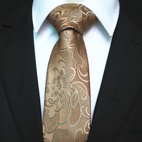 Silk Neck Tie + Gift Box // Gold Floral