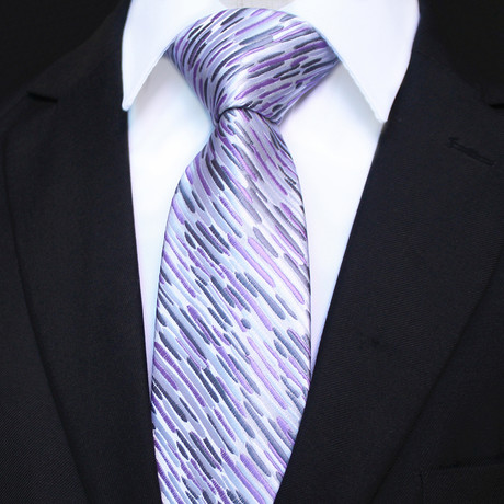 Silk Neck Tie + Gift Box // White + Purple Lines