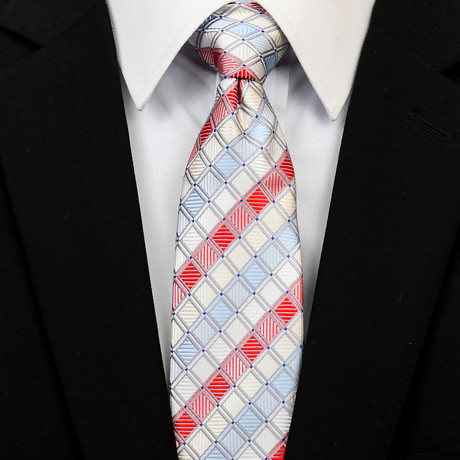 Silk Neck Tie + Gift Box // Red + White + Turquoise Diamond Grid