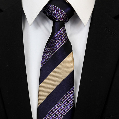 Silk Neck Tie + Gift Box // Purple Champagne Lines