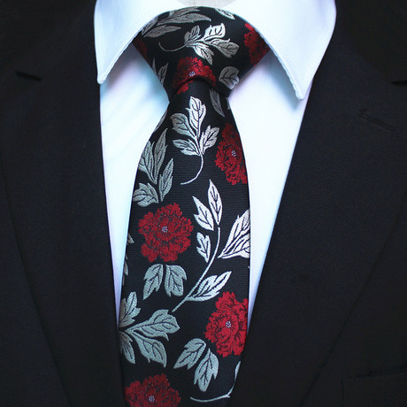 Silk Neck Tie + Gift Box // Black + Red Floral