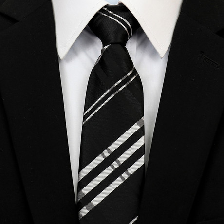 Silk Neck Tie + Gift Box // Black + White Check
