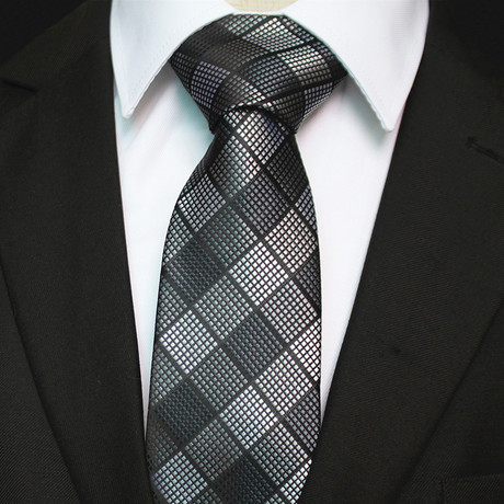 Silk Neck Tie + Gift Box // Black + Silver Gray Check