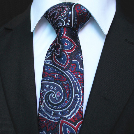 Silk Neck Tie + Gift Box // Navy Blue + Red Paisley