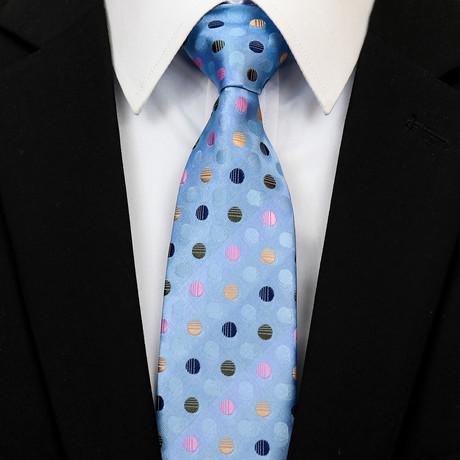 Silk Neck Tie + Gift Box // Blue Polka Dots