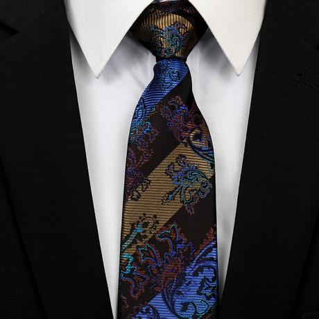 Silk Neck Tie + Gift Box // Blue Paisley + Stripes