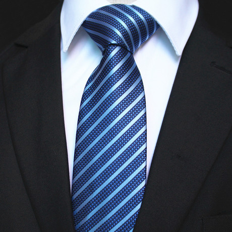 Silk Neck Tie + Gift Box // Blue Lines