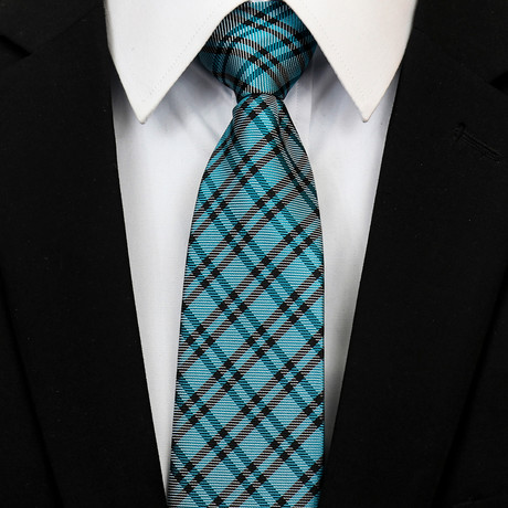 Silk Neck Tie + Gift Box // Teal + Black Checkered