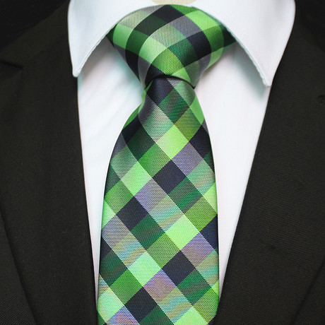 Silk Neck Tie + Gift Box // Green Check