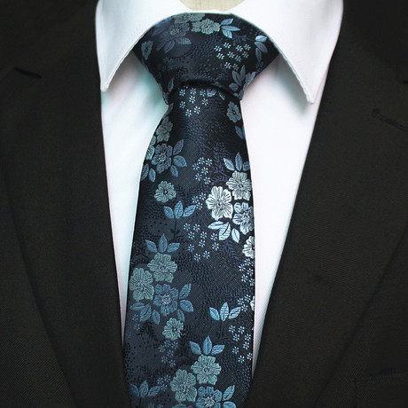 Silk Neck Tie + Gift Box // Blue Floral