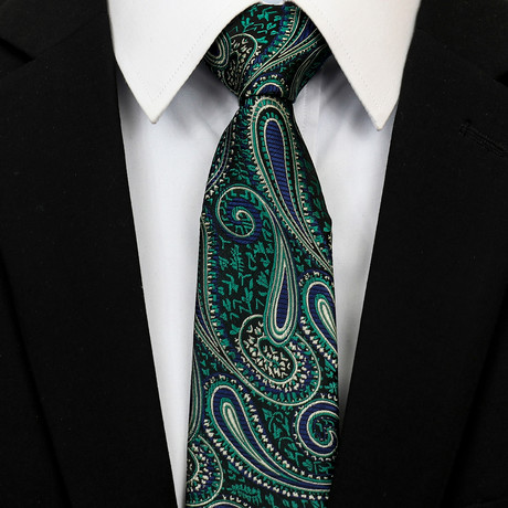 Silk Neck Tie + Gift Box // Metallic Green Paisley