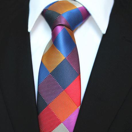 Silk Neck Tie + Gift Box // Multicolor Check