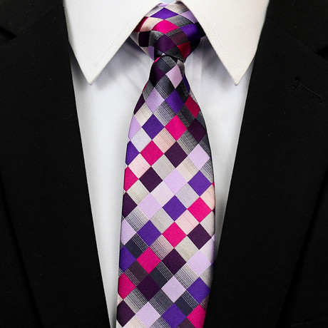 Silk Neck Tie +Gift Box // Pink + Purple Checkered