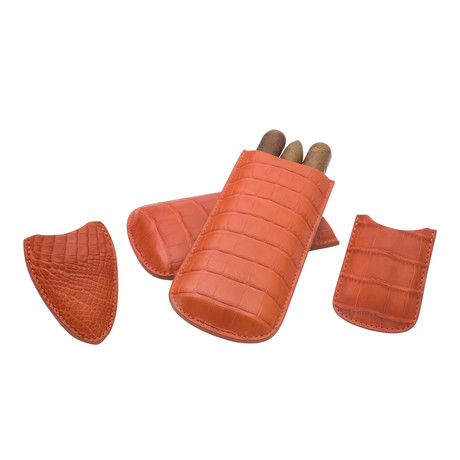 Genuine Alligator Tail // Standard Case // 3 Piece Set // Lighter + Cutter Sheath (Orange)