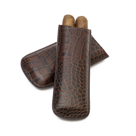 Crocodile Embossed Genuine Leather // 2-Finger Cigar Case (Black)