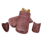 Genuine Java Lizard // Standard Case // 3 Piece Set // Lighter + Cutter Sheath (Burgundy)
