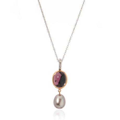 Mimi Milano 18k Two-Tone Gold Amethyst + Diamond Pendant Necklace I