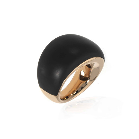Bucherer 18k Rose Gold + Wood Ring // Ring Size: 7.25