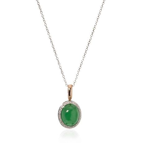 Mimi Milano 18k Two-Tone Gold Jade + Diamond Pendant Necklace