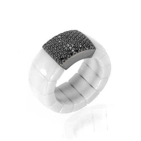 Bucherer 18k White Gold + Ceramic Diamond Ring // Ring Size: 8.25