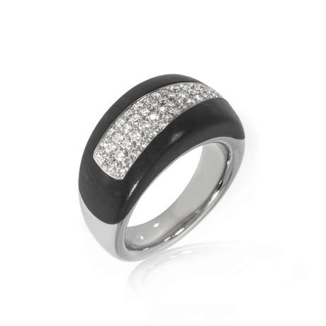 Bucherer 18k White Gold + Wood Diamond Ring // Ring Size: 6
