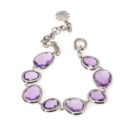 Mimi Milano 18k White Gold Diamond + Amethyst Chain Bracelet
