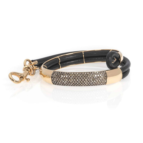 Bucherer 18k Rose Gold + Leather Diamond Bracelet