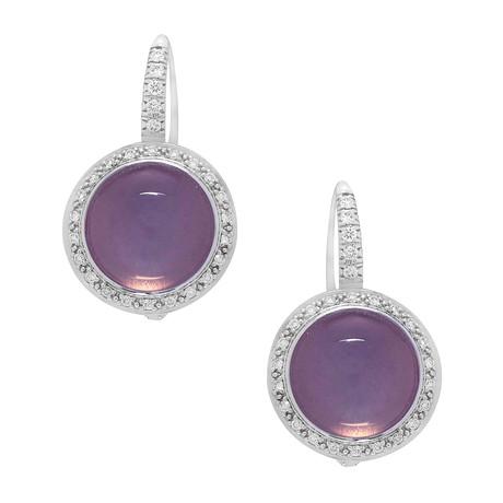Mimi Milano 18k White Gold Diamond + Moonstone Earrings