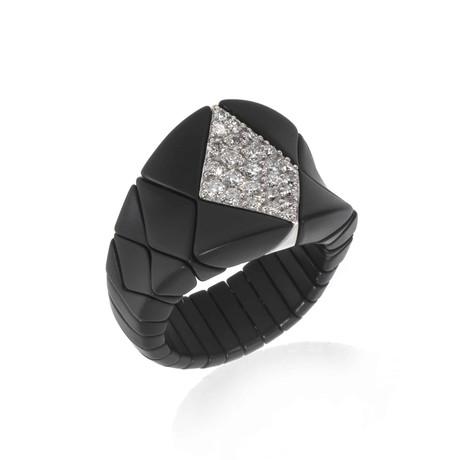 Bucherer 18k White Gold + Ceramic Diamond Ring // Ring Size: 7