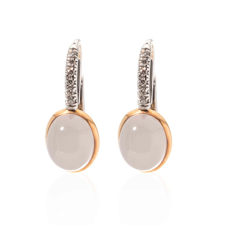 Mimi Milano 18k Two-Tone Gold Quartz + Diamond Huggie Earrings