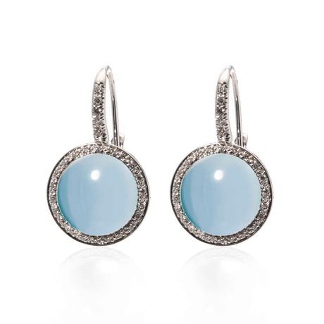 Mimi Milano 18k White Gold Blue Topaz + Diamond Huggie Earrings