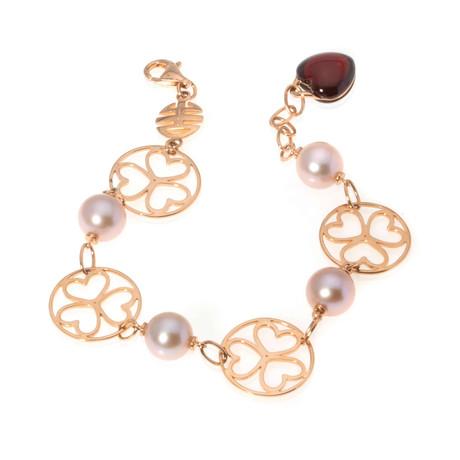 Mimi Milano 18k Rose Gold Garnet + Pearl Chain Bracelet