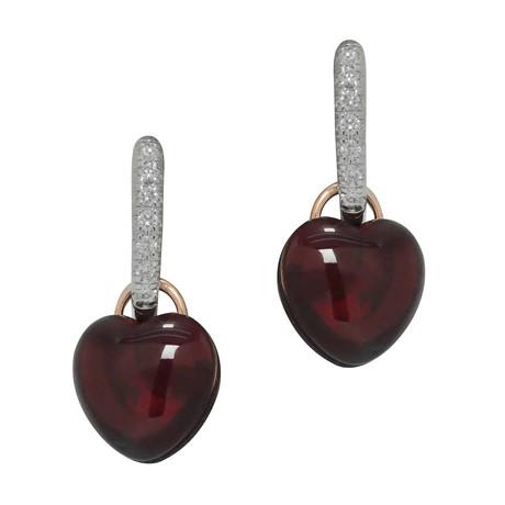Mimi Milano 18k White Gold Garnet + Diamond Earrings