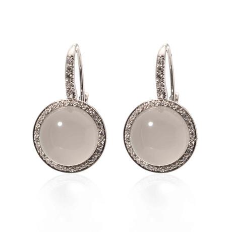 Mimi Milano 18k White Gold Quartz + Diamond Huggie Earrings