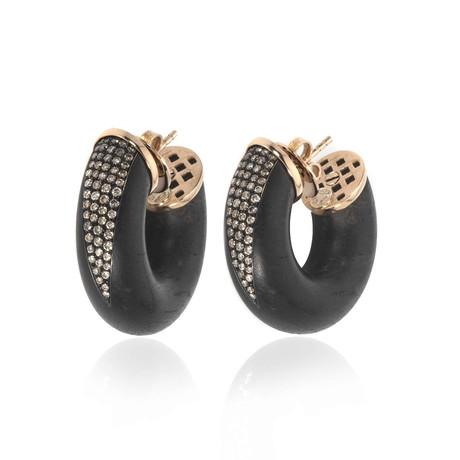 Bucherer 18k Rose Gold + Wood Diamond Earrings