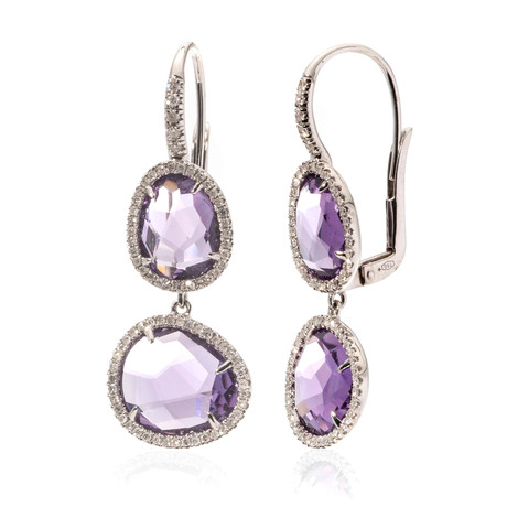 Mimi Milano 18k Two-Tone Gold Diamond + Amethyst Drop Earrings