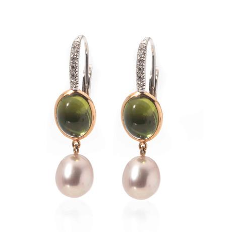 Mimi Milano 18k Two-Tone Gold Peridot + Diamond Huggie Earrings