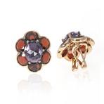 Mimi Milano 18k Rose Gold Amethyst + Garnet Huggie Earrings