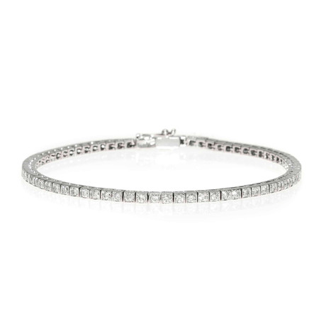 Piero Milano 18k White Gold Diamond Tennis Bracelet