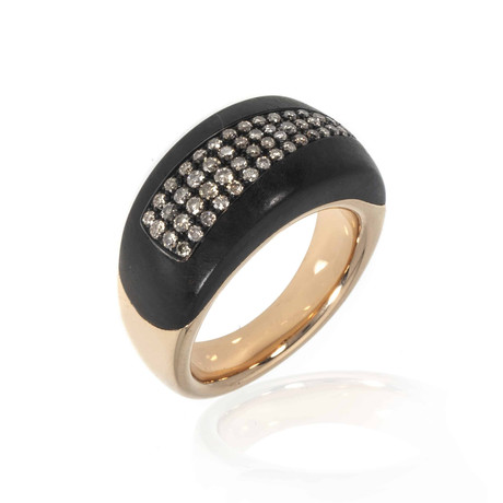 Bucherer 18k Rose Gold + Wood Diamond Ring // Ring Size: 6.5