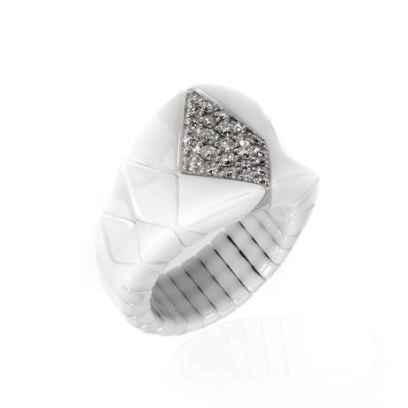 Bucherer 18k White Gold + Ceramic Diamond Ring // Ring Size: 7.5