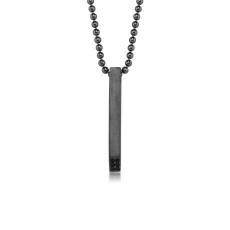 "Name + Date Necklace // Black Silver (22"")"