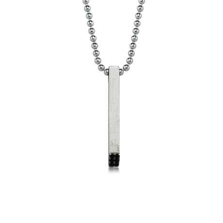 "Name + Date Necklace // White Gold (22"")"