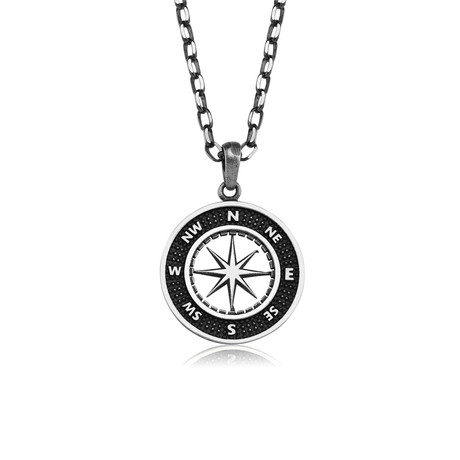 "Compass Necklace // Black + Silver (22"")"
