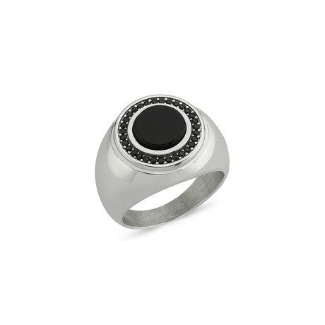 Black Zircon Onyx Stone Ring // White Gold (Size 7)