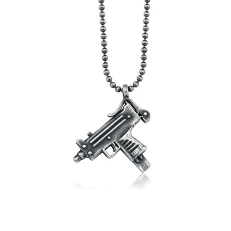 "Uzi Design Necklace // Silver (22"")"