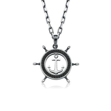 "Black Zircon Anchor + Helm Necklace // Oxide (22"")"