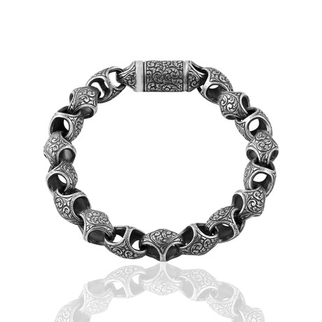 """Engraved Link Bracelet // Oxide (8"""")"""