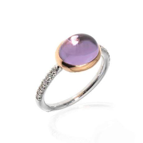 Mimi Milano 18k Two-Tone Gold Amethyst + Diamond Statement Ring // Ring Size: 6.75