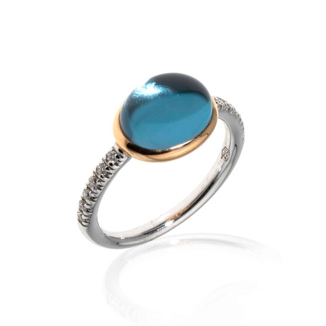 Mimi Milano 18k Two-Tone Gold Blue Topaz + Diamond Statement Ring // Ring Size: 6.25